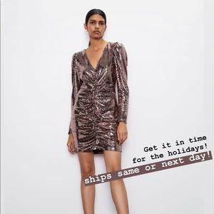 zara • ruched shimmery dress ✨